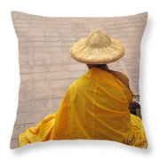 Buddhist Monk Throw Pillow