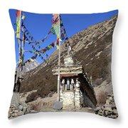 Buddhist Prayer Wheels Throw Pillow
