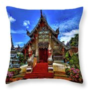 Buddhist Temples In Chiang Mai Throw Pillow
