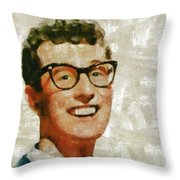 Buddy Holly By Mary Bassett Throw Pillow