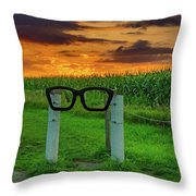 Buddy Holly Glasses Throw Pillow