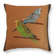 Budgies Throw Pillow