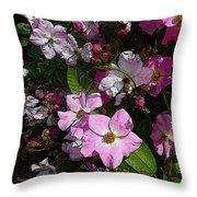 Buds And Petals- Pink Roses- Rose Bush- Floral Art Throw Pillow