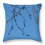 Buds And The Blue Sky Throw Pillow