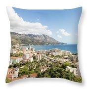 Budva Along The Adriatic Sea In Montenegro Throw Pillow