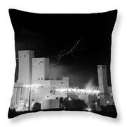 Budweiser  Brewery Lightning Thunderstorm Image 3918  Bw Pano Throw Pillow