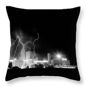 Budweiser Lightning Thunderstorm Moving Out Bw Throw Pillow