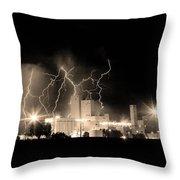 Budweiser Lightning Thunderstorm Moving Out Bw Sepia Crop Throw Pillow