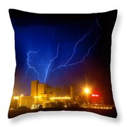 Budweiser Powered By Lightning Throw Pillow