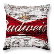 Budweiser Wood Art 5a Throw Pillow