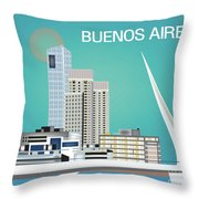 Buenos Aires Argentina Horizontal Skyline - Blue Throw Pillow