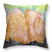 Buff Orpington Hens In The Garden Throw Pillow