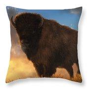 Buffalo At Dawn Throw Pillow