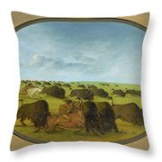Buffalo Chase With Accidents Throw Pillow