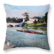 Buffalo  Fishing Day Throw Pillow