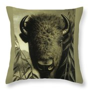 Buffalo Head Throw Pillow