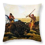 Buffalo Hunt, 1862 Throw Pillow