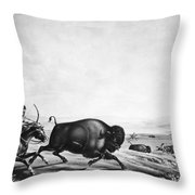 Buffalo Hunt, C1830 Throw Pillow