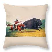 Buffalo Hunt, C1832 Throw Pillow