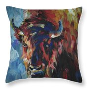Buffalo In Blue Throw Pillow
