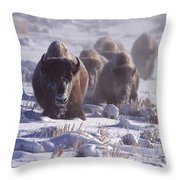 Buffalo In The Fog-signed-##6995 Throw Pillow