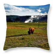 Buffalo In Yellowstone Throw Pillow