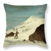 Buffalo Lancing In The Snow Drifts. Sioux Throw Pillow