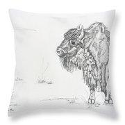 Buffalo Mom And Calves Throw Pillow
