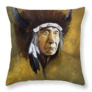 Buffalo Shaman Throw Pillow by J W Baker