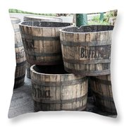 Buffalo Trace Barrels Throw Pillow