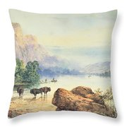 Buffalo Watering Throw Pillow