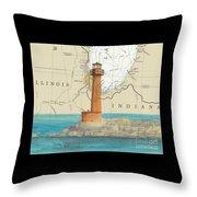 Buffington Harbor Lighthouse In Nautical Chart Map Throw Pillow