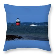 Bug Light And Lobster Boat Throw Pillow