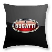 Bugatti - 3 D Badge On Black Throw Pillow