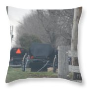 Buggies Parked At The Edge Of The Road Throw Pillow