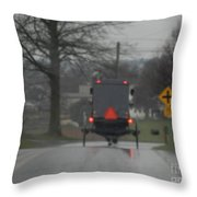 Buggy Approaching A Curve In The Road Throw Pillow