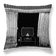 Buggy In The Barn Throw Pillow