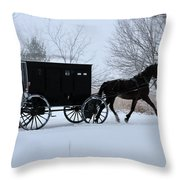 Buggy On Winter Road Throw Pillow