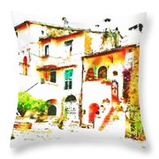 Buglimpse Of A Group Of Buildingsildings Throw Pillow