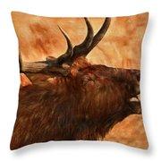 Bugling Bull Elk Autumn Background Throw Pillow