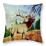 Bugling Elk Throw Pillow