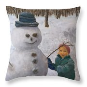 Building A Snowman  Throw Pillow