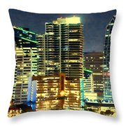 Building At Night With Lights Throw Pillow