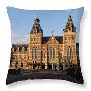 Building Exterior Of Rijksmuseum. Amsterdam. Holland Throw Pillow