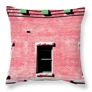 Building In Red And Green Throw Pillow