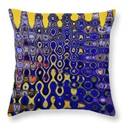 Building Of Circles And Waves Colored Yellow And Blue Throw Pillow