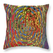 Building Of Circles And Waves Colored Yellow Red And Blue Throw Pillow
