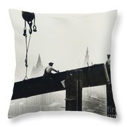 Building The Empire State Building Throw Pillow by LW Hine
