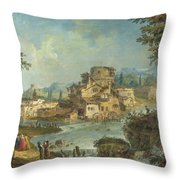 Buildings And Figures Near A River With Rapids Throw Pillow