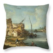 Buildings And Figures Near A River With Shipping Throw Pillow